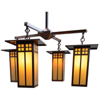 Arroyo Craftsman GCH-9L/4GW-RC Glasgow 4 Light 33 inch Raw Copper Chandelier Ceiling Light in Gold White Iridescent