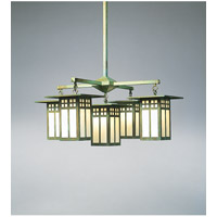 Arroyo Craftsman Glasgow 5 Light Dining Chandelier in Verdigris Patina GCH-9/4-1OF-VP