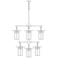 Arroyo Craftsman GCH-9/4/4-1M-BK Glasgow 9 Light 33 inch Satin Black Foyer Chandelier Ceiling Light in Amber Mica photo thumbnail