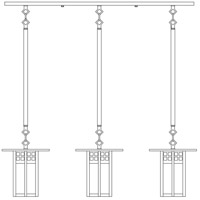 Arroyo Craftsman GICH-9/3F-BK Glasgow 3 Light 37 inch Satin Black In-Line Chandelier Ceiling Light in Frosted photo thumbnail