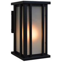 Arroyo Craftsman GLB-6F-BK Glencoe 1 Light 11 inch Satin Black Outdoor Wall Mount in Frosted