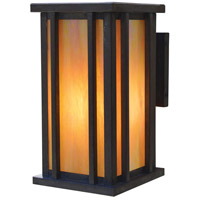 Arroyo Craftsman GLB-9M-P Glencoe 1 Light 15 inch Pewter Outdoor Wall Mount in Amber Mica