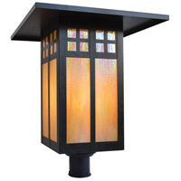 Arroyo Craftsman GP-18GW-BZ Glasgow 1 Light 18 inch Bronze Post Mount in Gold White Iridescent
