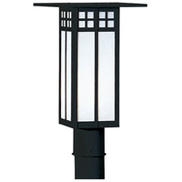 Arroyo Craftsman GP-9LWO-BK Glasgow 1 Light 12 inch Satin Black Post Mount in White Opalescent photo thumbnail