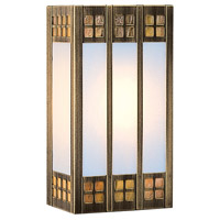 Arroyo Craftsman GSADA-12GWC-AB Glasgow 1 Light 7 inch Antique Brass ADA Wall Mount Wall Light in Gold White Iridescent and White Opalescent