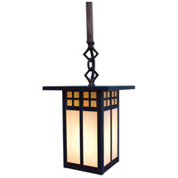 Arroyo Craftsman GSH-6LM-BK Glasgow 1 Light 6 inch Satin Black Pendant Ceiling Light in Amber Mica