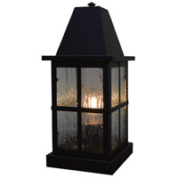 Arroyo Craftsman HC-6RM-BK Hartford 1 Light 15 inch Satin Black Outdoor Column Mount in Rain Mist
