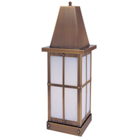 Arroyo Craftsman HC-8LWO-AB Hartford 1 Light 19 inch Antique Brass Column Mount in White Opalescent