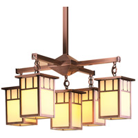 Arroyo Craftsman HCH-4L/4-1DTCR-AC Huntington 5 Light 24 inch Antique Copper Chandelier Ceiling Light in Cream