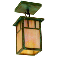 Arroyo Craftsman HCM-4L/1DTGW-VP Huntington 1 Light 5 inch Verdigris Patina Flush Mount Ceiling Light in Gold White Iridescent