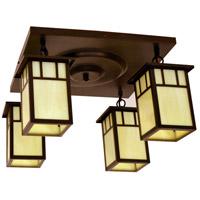 Arroyo Craftsman HCM-4L/4DTCR-BZ Huntington 4 Light 17 inch Bronze Flush Mount Ceiling Light in Cream