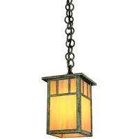 Arroyo Craftsman HH-4LDTGW-VP Huntington 1 Light 5 inch Verdigris Patina Pendant Ceiling Light in Gold White Iridescent