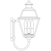 Arroyo Craftsman INB-8GRRM-AB Inverness 3 Light 18 inch Antique Brass Outdoor Wall Mount in Rain Mist photo thumbnail