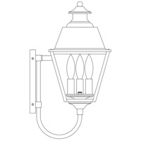 Arroyo Craftsman INB-8MRRM-P Inverness 3 Light 18 inch Pewter Outdoor Wall Mount in Rain Mist photo thumbnail
