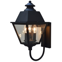 Arroyo Craftsman INB-8MRCLR-AB Inverness 3 Light 18 inch Antique Brass Outdoor Wall Mount in Clear