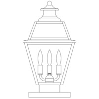 Arroyo Craftsman Inverness 3 Light Column Mount in Pewter INC-10GRRM-P