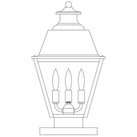 Arroyo Craftsman INC-10MRRM-P Inverness 3 Light 19 inch Pewter Column Mount in Rain Mist photo thumbnail