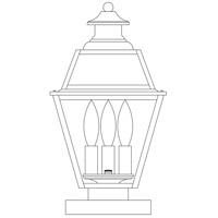 Arroyo Craftsman INC-8GRCLR-BK Inverness 3 Light 15 inch Satin Black Column Mount in Clear photo thumbnail