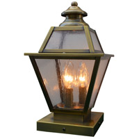Arroyo Craftsman INC-8GRCS-AB Inverness 3 Light 15 inch Antique Brass Column Mount in Clear Seedy