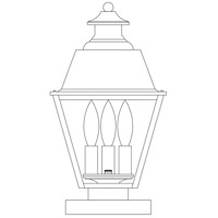Arroyo Craftsman INC-8MRRM-BZ Inverness 3 Light 15 inch Bronze Column Mount in Rain Mist photo thumbnail