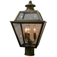 Arroyo Craftsman INP-10GRCLR-AB Inverness 3 Light 16 inch Antique Brass Post Mount in Clear