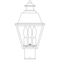 Arroyo Craftsman INP-8MRCLR-BK Inverness 3 Light 13 inch Satin Black Post Mount in Clear photo thumbnail
