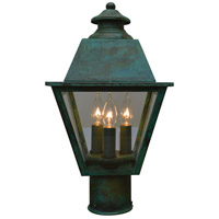 Arroyo Craftsman INP-8MRCLR-VP Inverness 3 Light 13 inch Verdigris Patina Post Mount in Clear