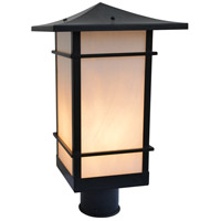 Arroyo Craftsman KAP-9TSWO-BZ Katsura 1 Light 14 inch Bronze Post Mount in White Opalescent