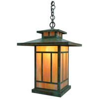 Arroyo Craftsman KH-12GW-VP Kennebec 1 Light 12 inch Verdigris Patina Pendant Ceiling Light in Gold White Iridescent