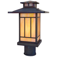 Arroyo Craftsman KP-9GW-RC Kennebec 1 Light 11 inch Raw Copper Post Mount in Gold White Iridescent