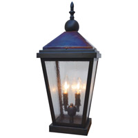 Arroyo Craftsman LAC-9CS-BZ/RC Lancaster 2 Light 21 inch Bronze with Raw Copper Accents Column Mount in Clear Seedy