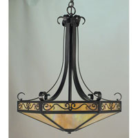 Arroyo Craftsman LICH-21CS-BK Lily 4 Light 21 inch Satin Black Inverted Pendant Ceiling Light in Clear Seedy photo thumbnail