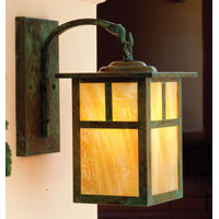 Arroyo Craftsman MB-6TGW-VP Mission 1 Light 6 inch Verdigris Patina Wall Mount Wall Light in Gold White Iridescent