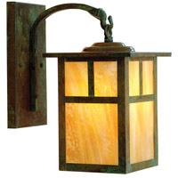 Arroyo Craftsman MB-7TGW-VP Mission 1 Light 12 inch Verdigris Patina Outdoor Wall Mount in Gold White Iridescent