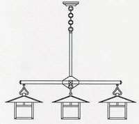 Arroyo Craftsman MCH-12/4SFCR-BK Monterey 4 Light 41 inch Satin Black Dining Chandelier Ceiling Light in Cream, Sycamore Filigree, Sycamore Filigree