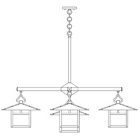 Arroyo Craftsman MCH-12/4-1TGW-BK Monterey 5 Light 41 inch Satin Black Dining Chandelier Ceiling Light in Gold White Iridescent, T-Bar Overlay, T-Bar Overlay photo thumbnail