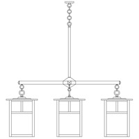 Arroyo Craftsman MCH-15/4EWO-BK Mission 4 Light 61 inch Satin Black Foyer Chandelier Ceiling Light in White Opalescent photo thumbnail