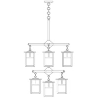 Arroyo Craftsman MCH-6/4/4-1TGW-BK Mission 9 Light 25 inch Satin Black Foyer Chandelier Ceiling Light in Gold White Iridescent, T-Bar Overlay, T-Bar Overlay photo thumbnail