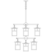 Arroyo Craftsman MCH-7/4/4-1EWO-BK Mission 9 Light 32 inch Satin Black Foyer Chandelier Ceiling Light in White Opalescent photo thumbnail
