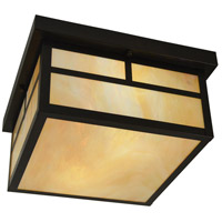 Arroyo Craftsman MCM-12TGW-BZ Mission 2 Light 12 inch Bronze Flush Mount Ceiling Light in Gold White Iridescent