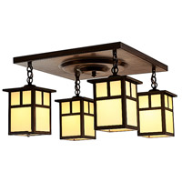 Arroyo Craftsman MCM-5/4TCR-BZ Mission 4 Light 17 inch Bronze Flush Mount Ceiling Light in Cream