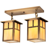 Arroyo Craftsman MCM-6/2TGW-AB Mission 2 Light 16 inch Antique Brass Flush Mount Ceiling Light in Gold White Iridescent