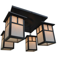 Arroyo Craftsman MCM-6/4TWO-BZ Mission 4 Light 18 inch Bronze Flush Mount Ceiling Light in White Opalescent