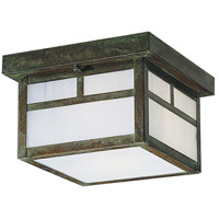 Arroyo Craftsman MCM-7TWO-VP Mission 1 Light 7 inch Verdigris Patina Flush Mount Ceiling Light in White Opalescent