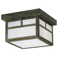 Arroyo Craftsman MCM-8TWO-VP Mission 2 Light 8 inch Verdigris Patina Flush Mount Ceiling Light in White Opalescent