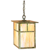 Arroyo Craftsman MH-15TGW-VP Mission 1 Light 15 inch Verdigris Patina Pendant Ceiling Light in Gold White Iridescent