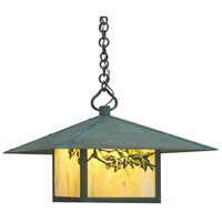 Arroyo Craftsman MH-17SFGW-VP Monterey 1 Light 17 inch Verdigris Patina Pendant Ceiling Light in Gold White Iridescent
