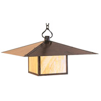 Arroyo Craftsman MH-30PFM-AC Monterey 1 Light 30 inch Antique Copper Pendant Ceiling Light in Amber Mica thumb