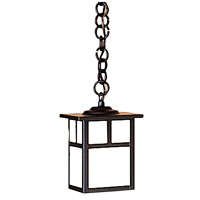 Arroyo Craftsman MH-5TWO-BK Mission 1 Light 5 inch Satin Black Pendant Ceiling Light in White Opalescent