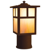 Arroyo Craftsman MP-5TGW-RB Mission 1 Light 7 inch Rustic Brown Post Mount in Gold White Iridescent